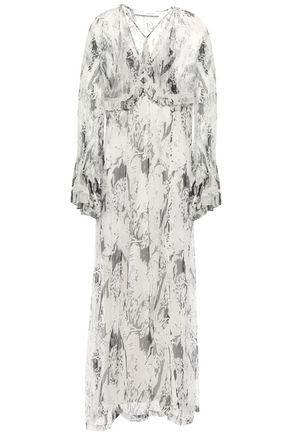 IRO Ruffled printed crinkled-georgette maxi dress