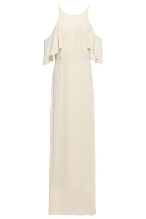HALSTON HERITAGE Cold-shoulder ruffled crepe gown