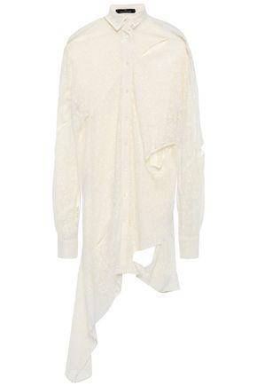 ROKH Draped cutout cotton-blend lace shirt