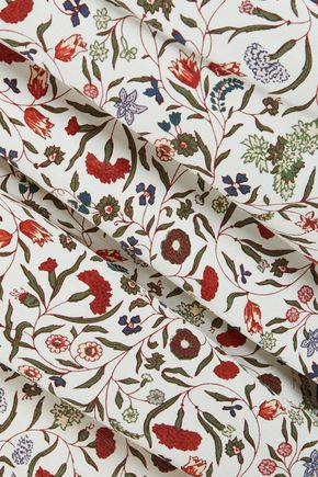 FRAME Ruffle-trimmed floral-print silk crepe de shine blouse