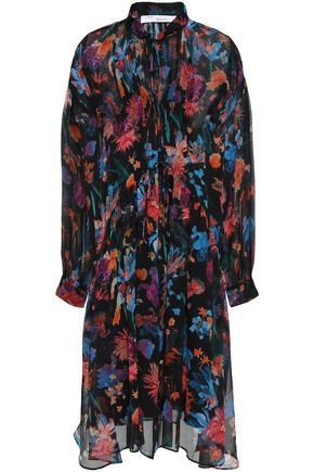 IRO Gathered floral-print silk-georgette dress