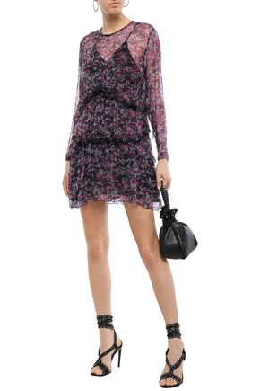 IRO Society tiered printed georgette mini dress