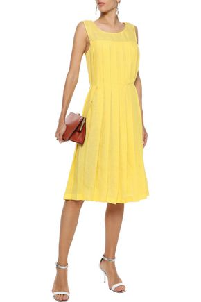Mansur Gavriel Woman Pleated Linen Dress Yellow