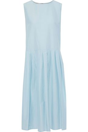 MANSUR GAVRIEL Pleated silk and cotton-blend taffeta dress