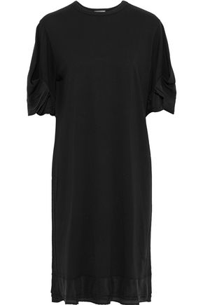 CLU Satin-trimmed cotton-jersey dress