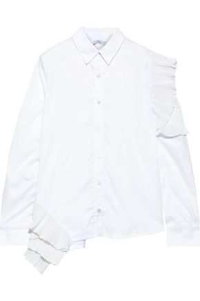 CLU Pleated ruffle-trimmed cotton-poplin shirt