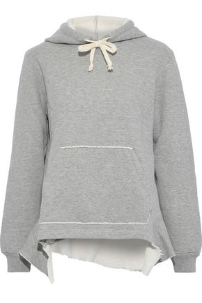 CLU Asymmetric cotton-blend fleece hoodie