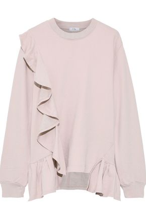 CLU Ruffled French cotton-terry sweatshirt