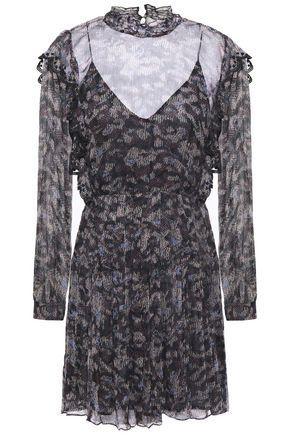 IRO Layered printed crinkled-georgette mini dress