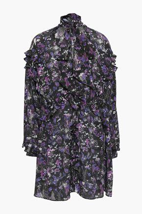 IRO Pussy-bow printed silk crepe de chine mini dress
