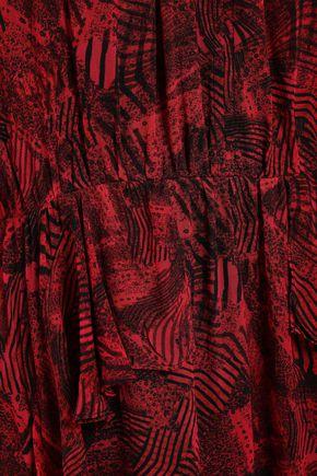 IRO Prime ruffled printed georgette mini dress