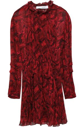 IRO Prime ruffled printed georgette mini dress