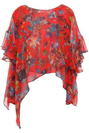 IRO Yellow cutout ruffled floral-print silk-chiffon blouse