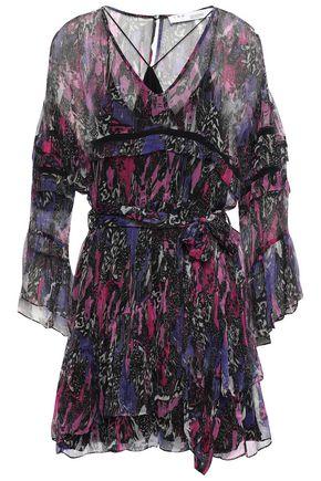 IRO Belted printed crinkled-georgette mini dress