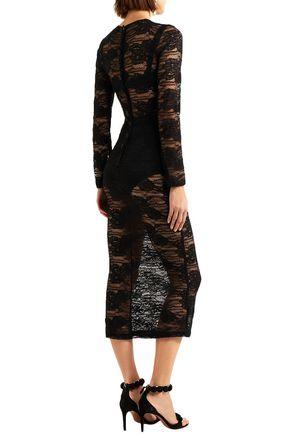 DOLCE & GABBANA Button-embellished lace midi dress