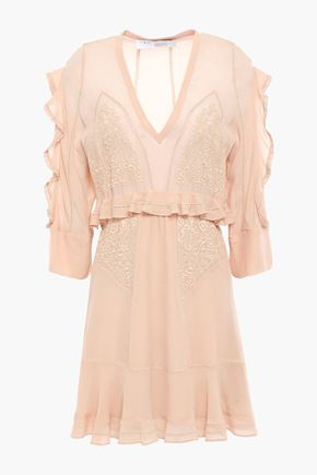 IRO Ruffled embroidered crepe mini dress
