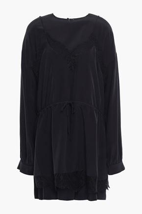 IRO Layered silk crepe de chine mini dress