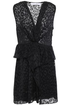 IRO Ruffled leopard-print fil coupé chiffon mini dress