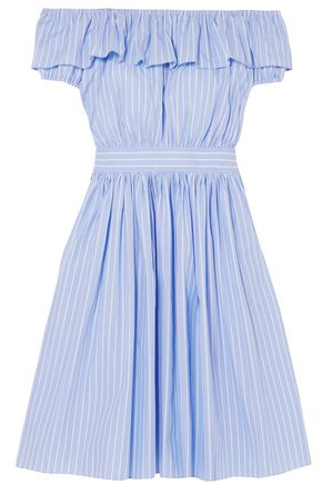 MIU MIU Off-the-shoulder striped cotton-poplin midi dress