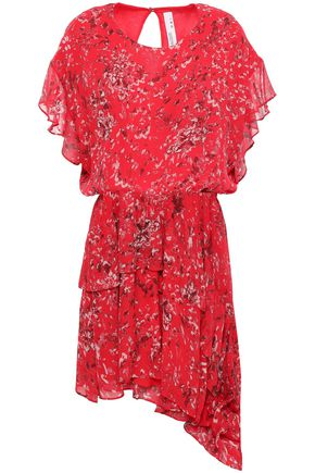 IRO Asymmetric ruffled printed georgette mini dress