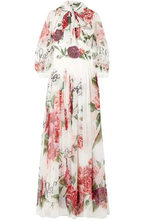 DOLCE & GABBANA Pussy-bow floral-print silk-chiffon gown