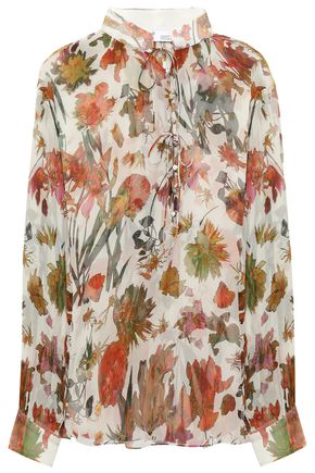 IRO Beatle bow-detailed floral-print silk-georgette blouse