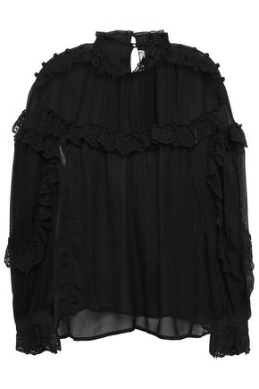 IRO Utopia ruffled broderie anglaise-trimmed mesh blouse