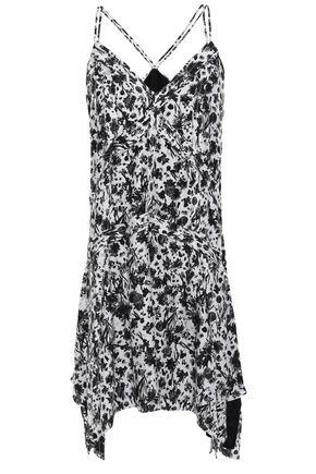 IRO Asymmetric printed crepe de chine mini dress