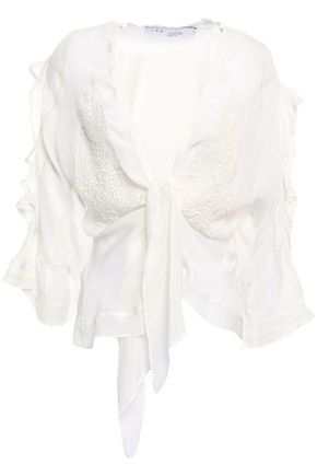 IRO Tie-front ruffled embroidered crepe de chine blouse
