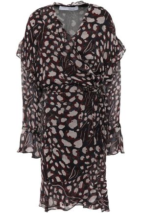 IRO Ruffled printed georgette mini wrap dress