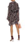 IRO Linger ruffle-trimmed printed gauze mini wrap dress