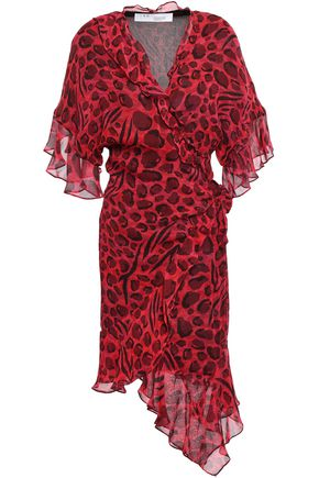 IRO Link asymmetric leopard-print chiffon mini wrap dress