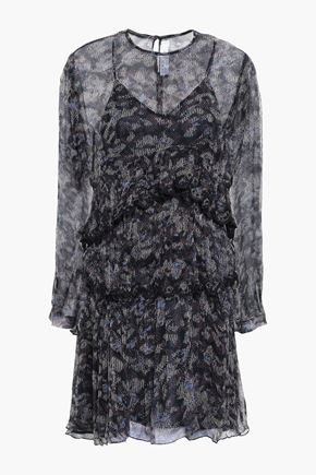 IRO Tiered printed crinkled-georgette mini dress