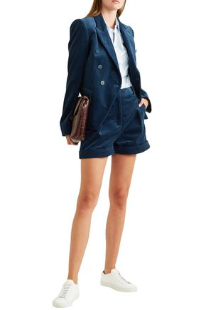 Stella Mccartney Shorts STELLA MCCARTNEY WOMAN COTTON-CORDUROY SHORTS NAVY
