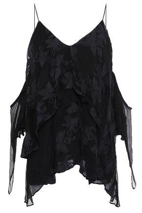 IRO Cold-shoulder embroidered crinkled-georgette top