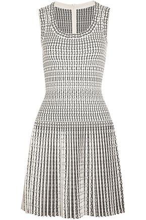 ALAÏA Pleated wool-blend jacquard mini dress