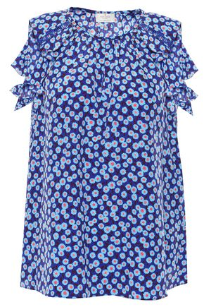 KATE SPADE New York Ruffled floral-print silk top