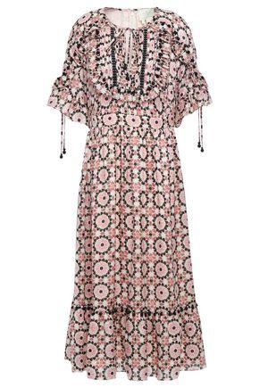 KATE SPADE New York Ruffled pintucked printed silk-blend satin mini dress