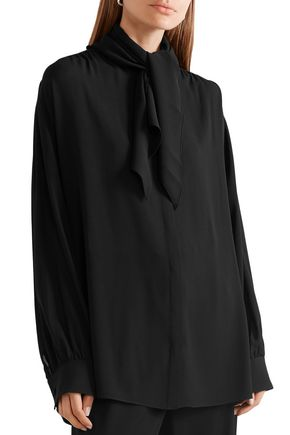 THE ROW Rudi oversized pussy-bow silk-crepe blouse