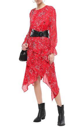 IRO Blank asymmetric layered printed gauze dress