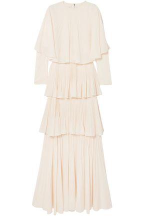 ANTONIO BERARDI Tiered plissé-crepe de chine gown