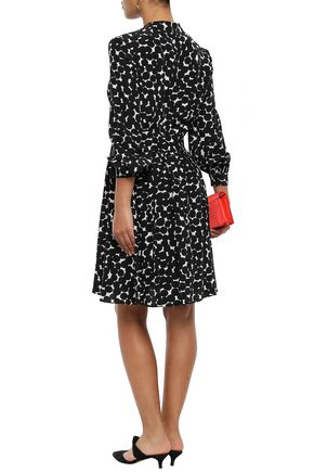 KATE SPADE New York Gathered printed silk dress