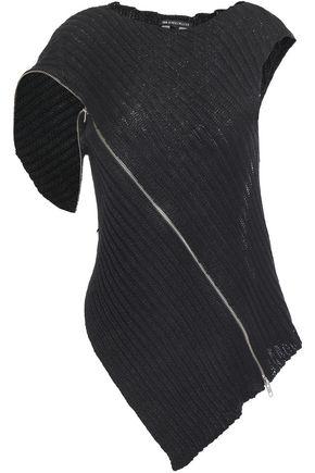 ANN DEMEULEMEESTER Asymmetric zip-detailed ribbed linen top