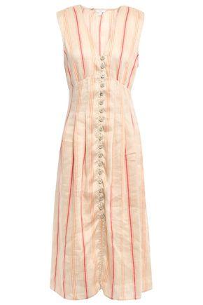 JOIE فستان متوسط الطول من مزيج الكتان المخطط
