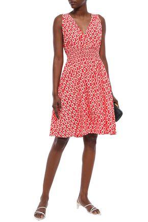 KATE SPADE New York Shirred printed silk-blend dress