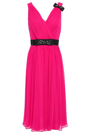 KATE SPADE New York Wrap-effect pleated georgette midi dress