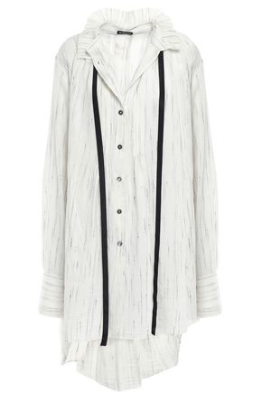 ANN DEMEULEMEESTER Oversized printed button-detailed gauze shirt