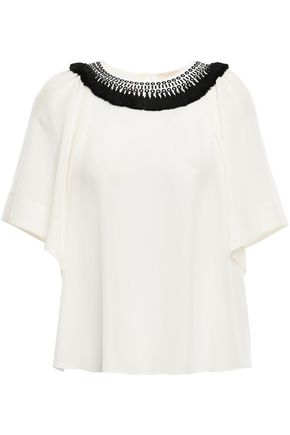 KATE SPADE New York Embellished silk crepe de chine blouse