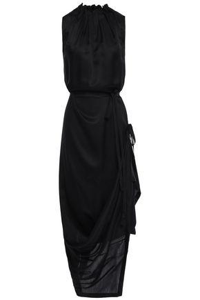 ANN DEMEULEMEESTER Wrap-effect pleated mousseline midi dress