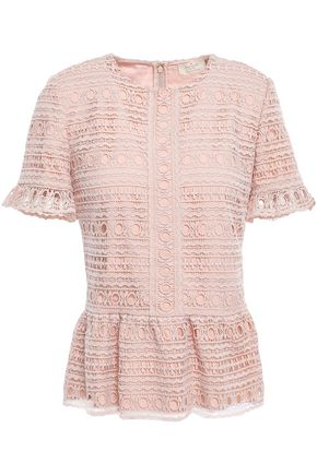 KATE SPADE New York Guipure lace peplum top